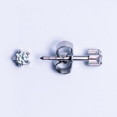 Silver diamond 5mm earring