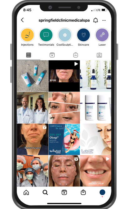 Smartphone with Springfield Clinic Medical Spa's Instagram profile populated