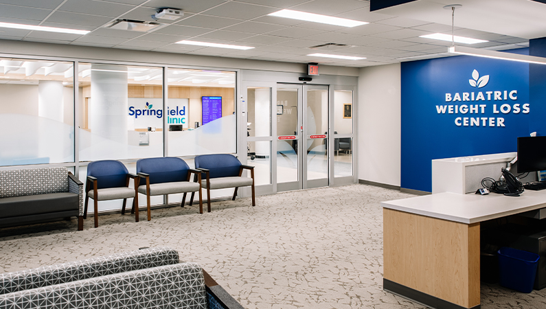 Interior shot of reception area of Springfield Clinic's Bariatric Weight Loss Center in Springfield, Illinois