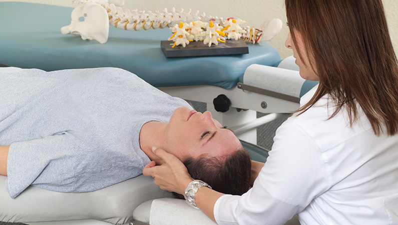Patient getting examined by a medical professional