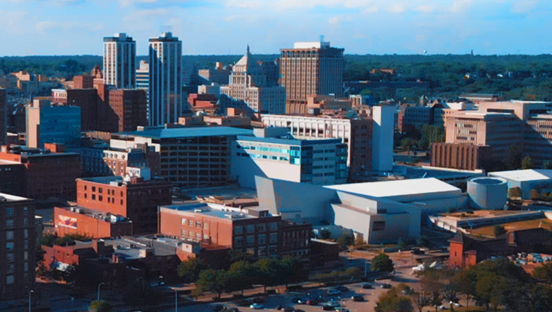 Skyline of buildings in downtown Peoria, Illinois
