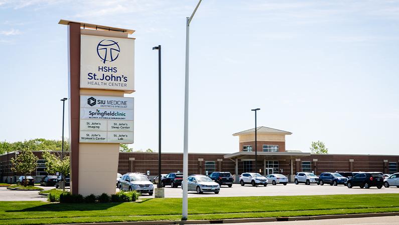 HSHS St. John's Health Center exterior building and parking lot