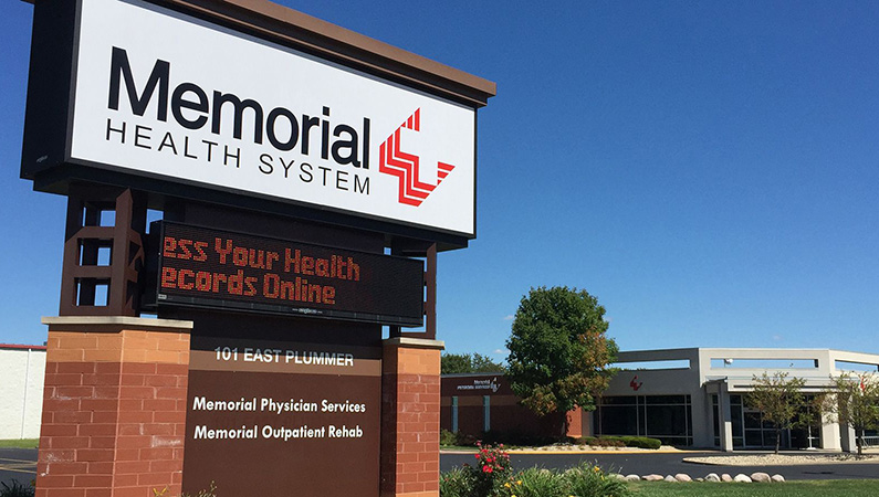 Exterior monument signage in front of medical office building in Chatham, Illinois