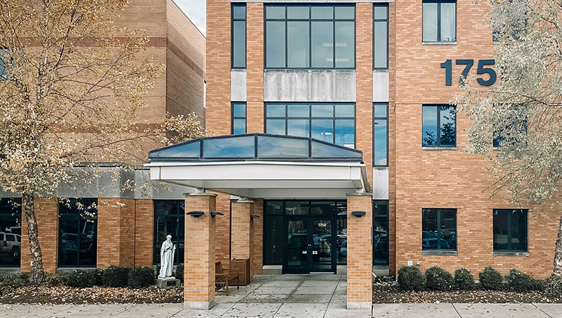 Exterior of golden brick medical office building in Decatur, Illinois