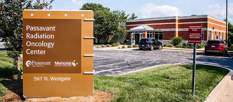 Exterior signage and brick one-story medical facility in Jacksonville, Illinois