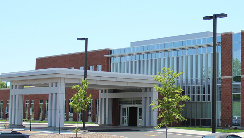 Brick and glass exterior of two-story medical facility in Jacksonville, Illinois