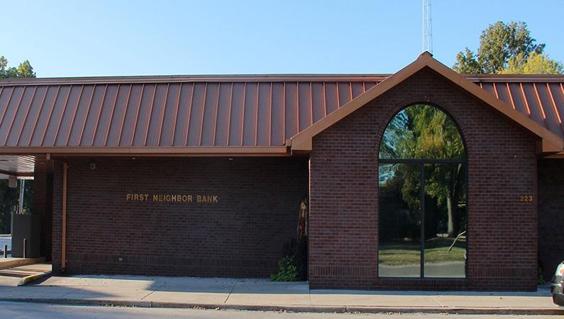 Exterior of dark brick medical office building in Neoga, Illinois