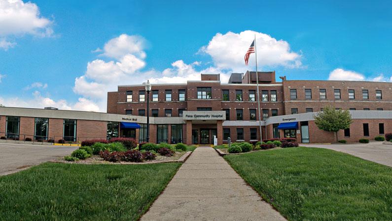 Exterior of multistory brick medical facility in Pana, Illinois