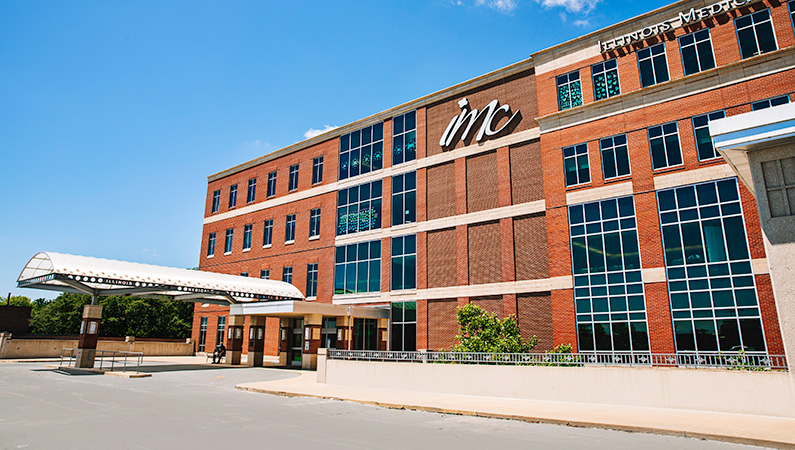 Exterior of multi-story brick medical office building in Peoria, Illinois