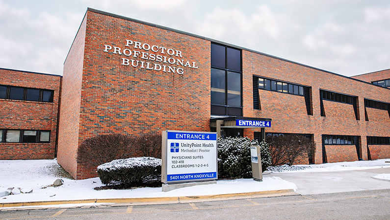 Exterior of hospital facility in Peoria, Illinois