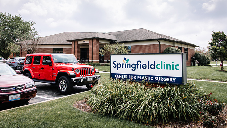 Exterior signage of single-story brick medical office building in Springfield, Illinois.