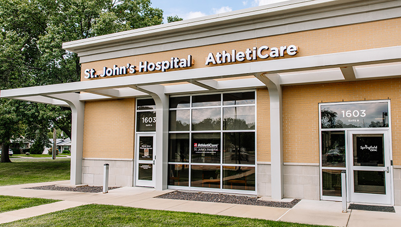 Brick exterior medical facility of HSHS St. John's Hospital Athleticare and TherapyCare in Springfield, Illinois