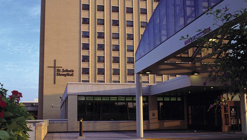 Golden brick exterior of HSHS St. John's Hospital in Springfield, Illinois