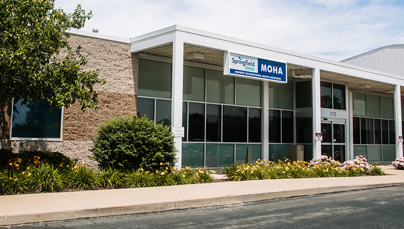 Exterior of single story medical office building in Springfield, Illinois