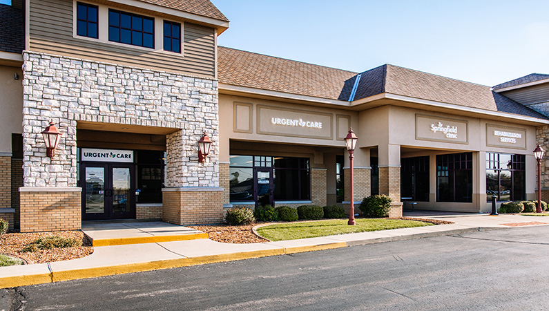 Exterior of urgent care entrance in shopping complex in Springfield, Illinois