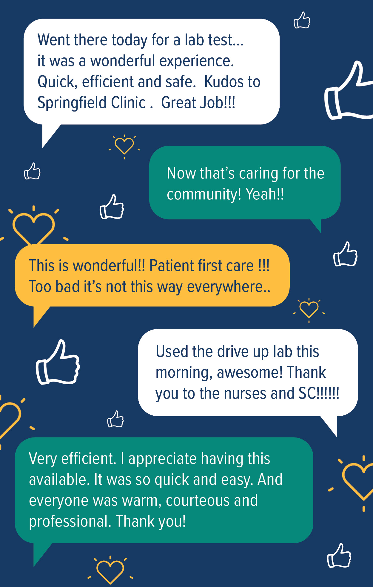Graphic of patient testimonies regarding the Springfield Clinic drive-up labs.