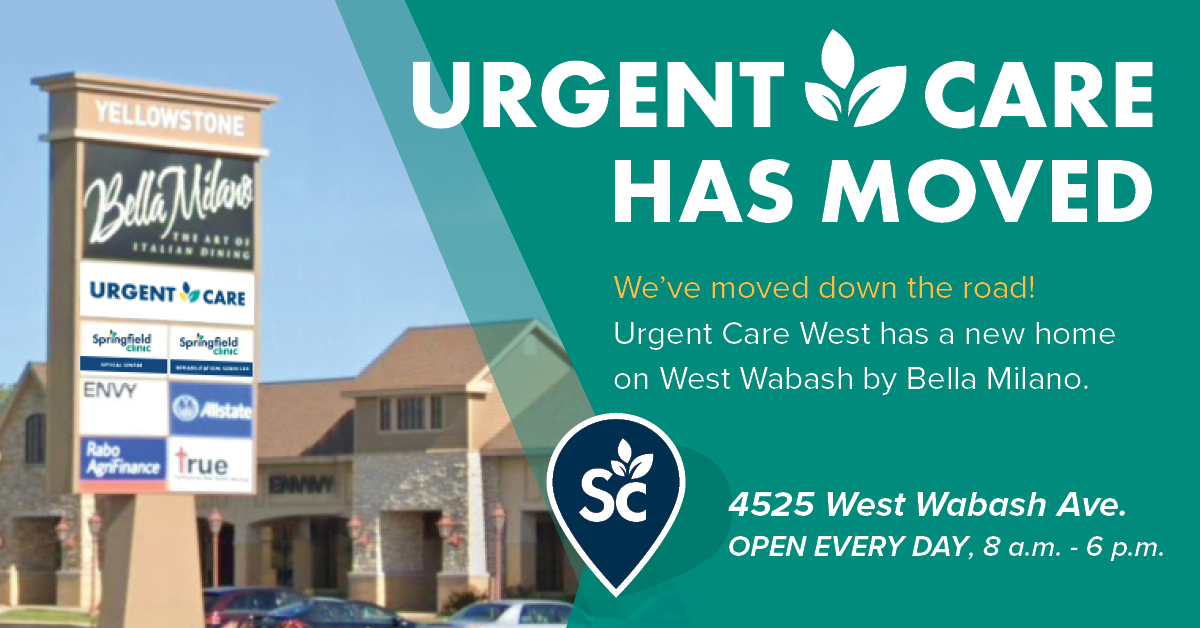 Graphic of Urgent Care West move details including address and times.