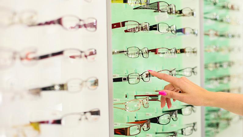 Wall display of various eyeglasses